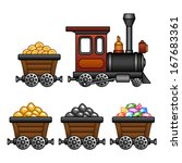 train with mine tubs | Shutterstock .eps vector #167683361