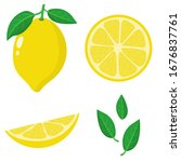set of fresh whole  half  cut... | Shutterstock .eps vector #1676837761