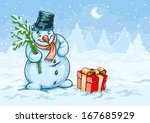 christmas snowman and red gift... | Shutterstock . vector #167685929