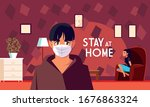 stay at home awareness social... | Shutterstock .eps vector #1676863324
