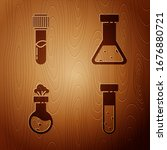 set test tube and flask... | Shutterstock .eps vector #1676880721