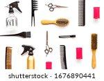 hairdresser tools pattern on... | Shutterstock . vector #1676890441