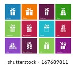 gift box icons on color...