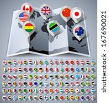 map world with 108 flags.... | Shutterstock .eps vector #167690021