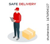 safe delivery during a... | Shutterstock .eps vector #1676904127