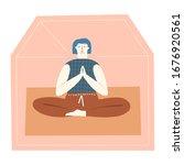 women doing meditation  stay in ... | Shutterstock . vector #1676920561