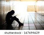 backlight of a teenager... | Shutterstock . vector #167694629