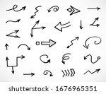 vector set of hand drawn arrows | Shutterstock .eps vector #1676965351