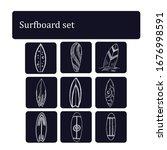 surfboard doodle set. vector... | Shutterstock .eps vector #1676998591