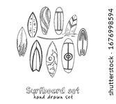 surfboard doodle set. vector... | Shutterstock .eps vector #1676998594