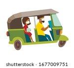 masked woman passenger in tuk ... | Shutterstock .eps vector #1677009751
