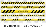 yellow quarantine warning tape... | Shutterstock .eps vector #1677042877