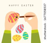 happy easter theme. female... | Shutterstock .eps vector #1677058537