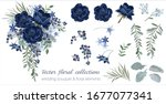 vector floral set with leaves...   Shutterstock .eps vector #1677077341