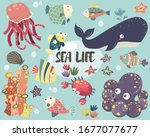 sea life element collections set | Shutterstock . vector #1677077677