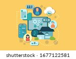 illustration with copy space of ... | Shutterstock .eps vector #1677122581