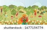 garden care  gardening  people... | Shutterstock .eps vector #1677154774