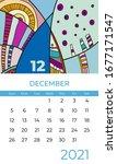 colorful 2021 calendar template ... | Shutterstock .eps vector #1677171547