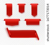 set realistic red bow and... | Shutterstock .eps vector #1677173014