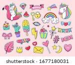 cute patch badges. magic... | Shutterstock .eps vector #1677180031