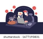work online from home with kid... | Shutterstock .eps vector #1677193831