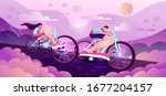young athletic man riding a two ... | Shutterstock .eps vector #1677204157