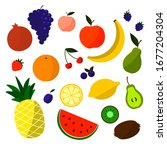 doodle fruits. natural tropical ...   Shutterstock .eps vector #1677204304