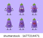 set of cute eggplant collection ... | Shutterstock .eps vector #1677214471