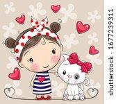 cute cartoon white kitten and a ... | Shutterstock .eps vector #1677239311