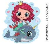 cute cartoon mermaid and whale... | Shutterstock .eps vector #1677239314