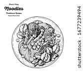 schezwan noodles hand drawn... | Shutterstock .eps vector #1677239494