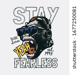 stay fearless slogan with... | Shutterstock .eps vector #1677250081