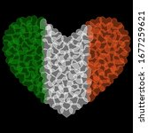 Ireland Flag in Heart Shape. Transparent hearts design. Izolated vector Illustration. Use for printing, posters, T-shirts, textile drawing, print pattern, etc. Follow other flags in my collection.