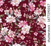 seamless vintage flowers...   Shutterstock .eps vector #1677290317