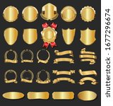 collection of golden badges... | Shutterstock . vector #1677296674