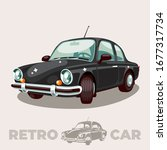 the old black car of the mid... | Shutterstock .eps vector #1677317734