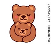 cute cartoon bear mom hugging... | Shutterstock .eps vector #1677343087