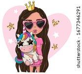 cute cartoon girl princess in a ...   Shutterstock .eps vector #1677346291