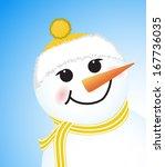 cute winter snowman on blue... | Shutterstock . vector #167736035