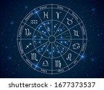astrology horoscope circle.... | Shutterstock .eps vector #1677373537