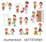 kids good manners. polite...   Shutterstock .eps vector #1677373564
