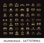 golden hotel luxury logo set  ... | Shutterstock .eps vector #1677378961