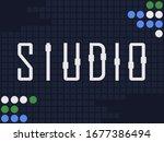 """calligram of a word """"studio""""   Shutterstock . vector #1677386494"""