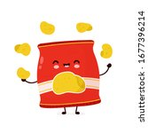 cute happy smiling chips pack... | Shutterstock .eps vector #1677396214