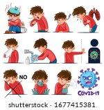 illustrated set of coronavirus...   Shutterstock .eps vector #1677415381