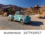 Small photo of Nelson Ghost Town, Nevada, USA - 4 October, 2019: rusty abandoned old classic cars in Nelson Ghost Town, Nelson Cutoff Rd, Searchlight, Nevada, USA