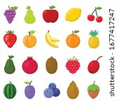 fruits vector icons set on... | Shutterstock .eps vector #1677417247