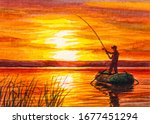 Fisherman Fishing From A Boat....