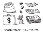 and drawn business sketches set | Shutterstock .eps vector #167746295