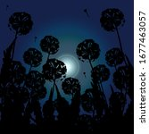 dandelions silhouettes in the... | Shutterstock .eps vector #1677463057